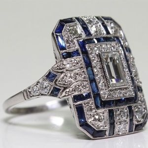 Jewelry - Antique Art Deco sterling silver sapphire ring